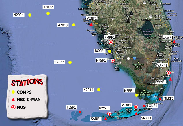 Mesomap of nearby weather buoys